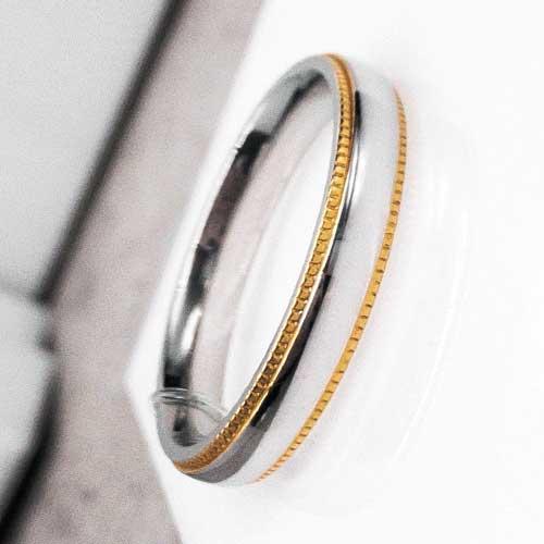 Обручальное кольцо из комбинированной медицинской стали 4 мм 176291
