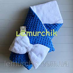 Конверт-одеяло минки на махре, синий