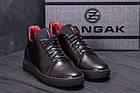Мужские зимние кожаные ботинки ZG Black  Red Premium Quality | Ботинки мужские зимние | Обувь на зиму, фото 9