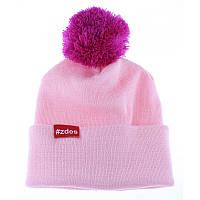 Шапка  женская зимняя с помпоном Zdes bubba розовая (модные молодежные,  шапки с бубоном)