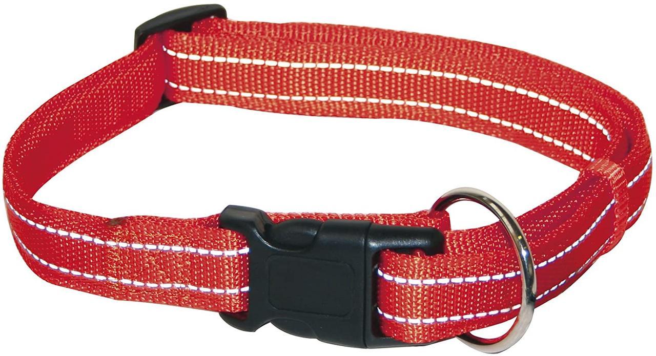 Ошейник для собак 30-45 см Croci SOFT REFLECTIVE. Светоотражающий нейлон (красный)