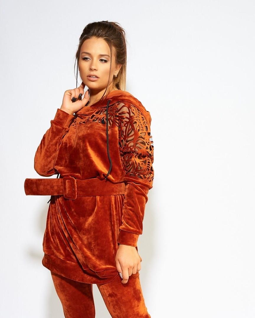 Женский велюровый костюм платье с леггинсами большого размера.Размеры:44/46,48/50,52/54.+Цвета