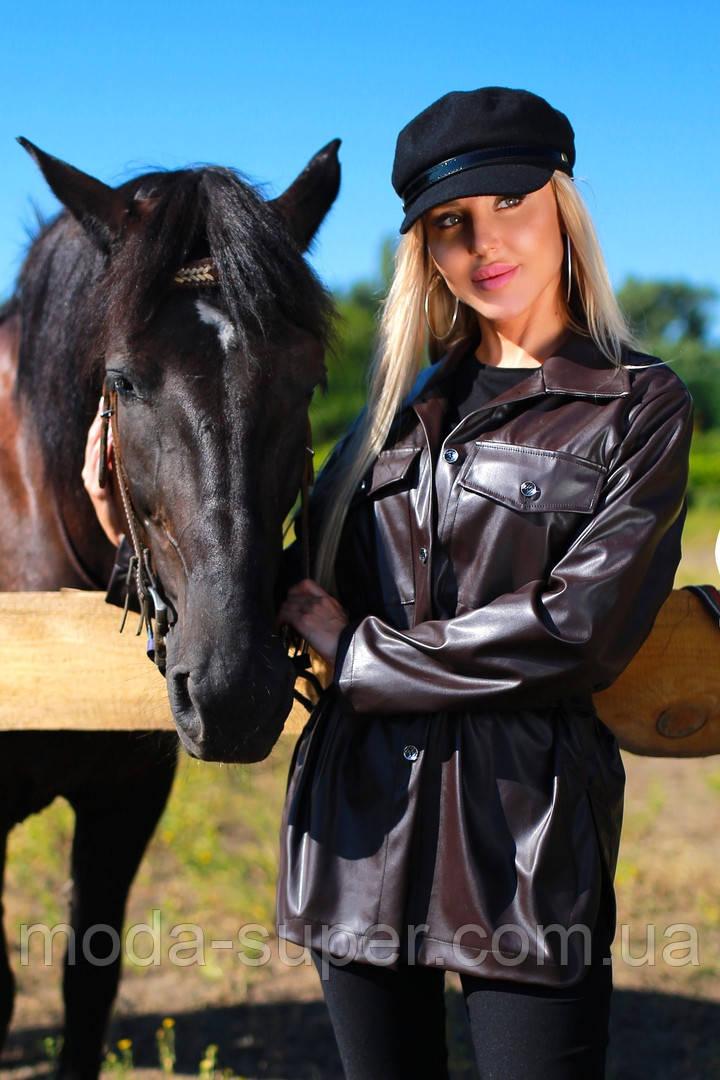 Молодежная куртка-рубашка из эко-кожи рр 42-48