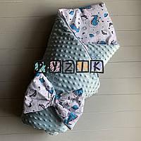 Конверт-одеяло минки на синтепоне голубой Динозавры, фото 1