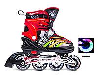 Детские Ролики(раздвижные ролики) Scale Sports (США) чёрно-красные LF 907M, размеры 29-33, 34-37, 39-41