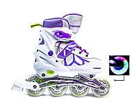 +Подарок Ролики раздвижные Scale Sports (США) бело-фиолетовые. размеры 29-33, 34-37