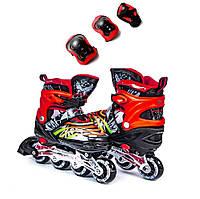 Ролики Scale Sports черно-красные +защита в подарок размер 29-33, 34-37. 38-41