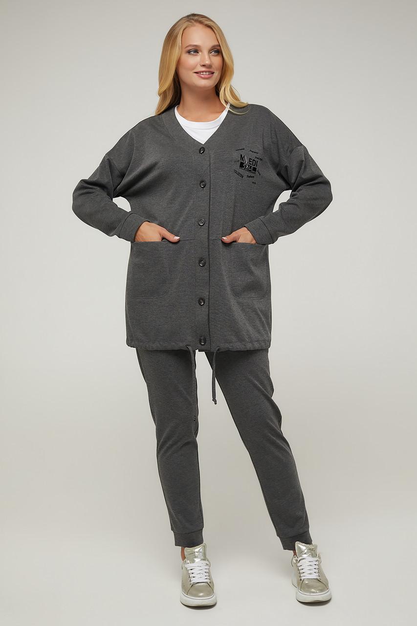 Женский трикотажный костюм с удлиненным жакетом Размеры  52-62