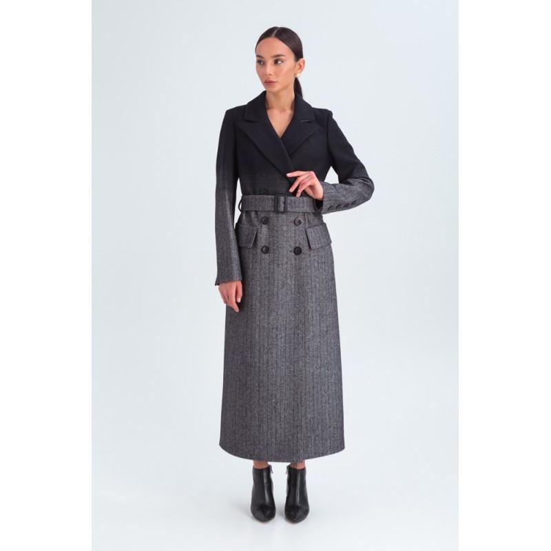 Стильне демісезонне двобортне пальто жіноче максі Vam 665 46