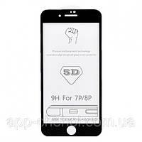Защитное стекло 5D для Apple iPhone 7 + Plus черное, на весь экран (захисне скло 5д на айфон 7 плюс чорне)
