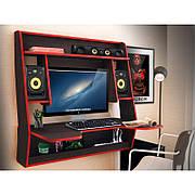 Геймерский стол навесной  ZEUS IGROK MAX  ,цвет  венге+красный