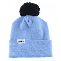 Шапка мужская зимняя с помпоном Zdes bubba fun голубая (модные молодежные,  шапки с бубоном)