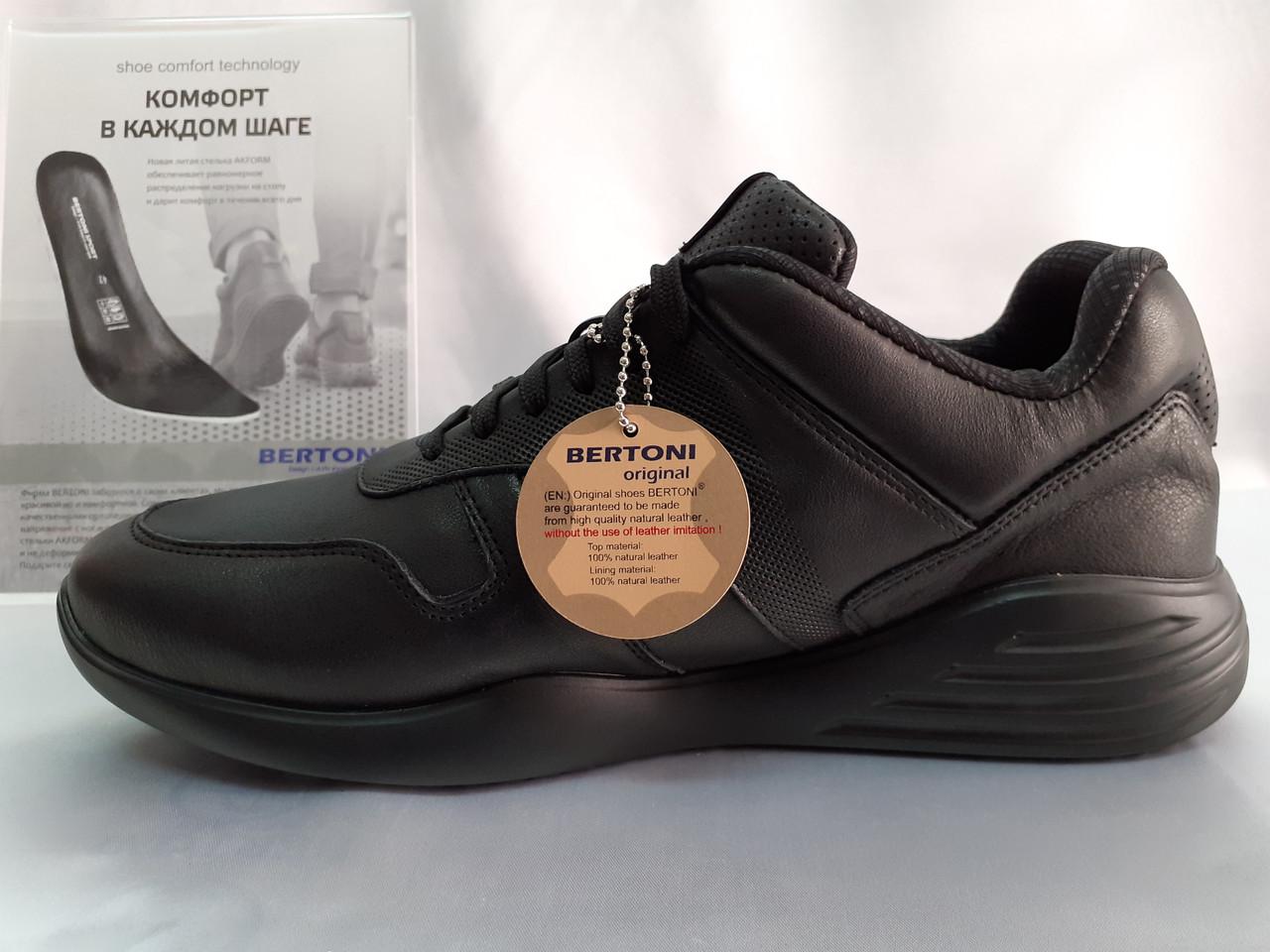 Стильные осенние кожаные полуботинки под кроссовки Bertoni