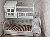 """Двухъярусная трехспальная деревянная кроватка с лестницей комодом """"Молли"""" массив дерева от производителя!"""