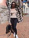 Женская клетчатая рубашка оверсайз из шерсти в едином размере 42-46 71bir405, фото 6