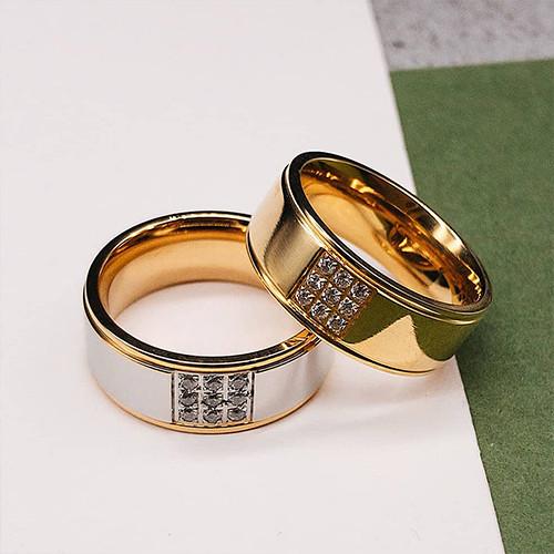 Обручки купити кільця в парі з цирконіями під золото 8 мм під гравіювання
