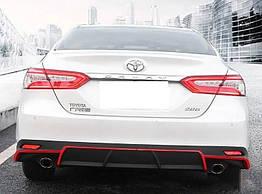 Toyota Camry XV70 2018+ диффузор заднего бампера черно красный