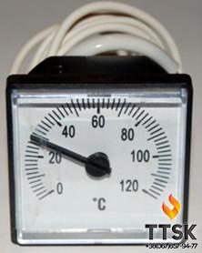 Термометр капиллярный квадратный 45х45 мм с выносным датчиком 1м