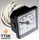 Термометр капиллярный квадратный 45х45 мм с выносным датчиком 1м, фото 2