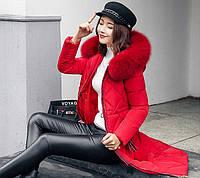 Женское пальто пуховик модные куртки зима с капюшоном, цвет красный, размер