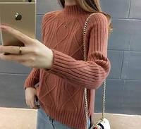 Стильный свитер женский вязанный в ромбик разные цвета размер 44-46