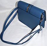 Женские молодежные клатчи, маленькие сумочки из искусственной кожи с клапаном 23*17 см (синий и черный), фото 3