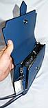 Женские молодежные клатчи, маленькие сумочки из искусственной кожи с клапаном 23*17 см (синий и черный), фото 2