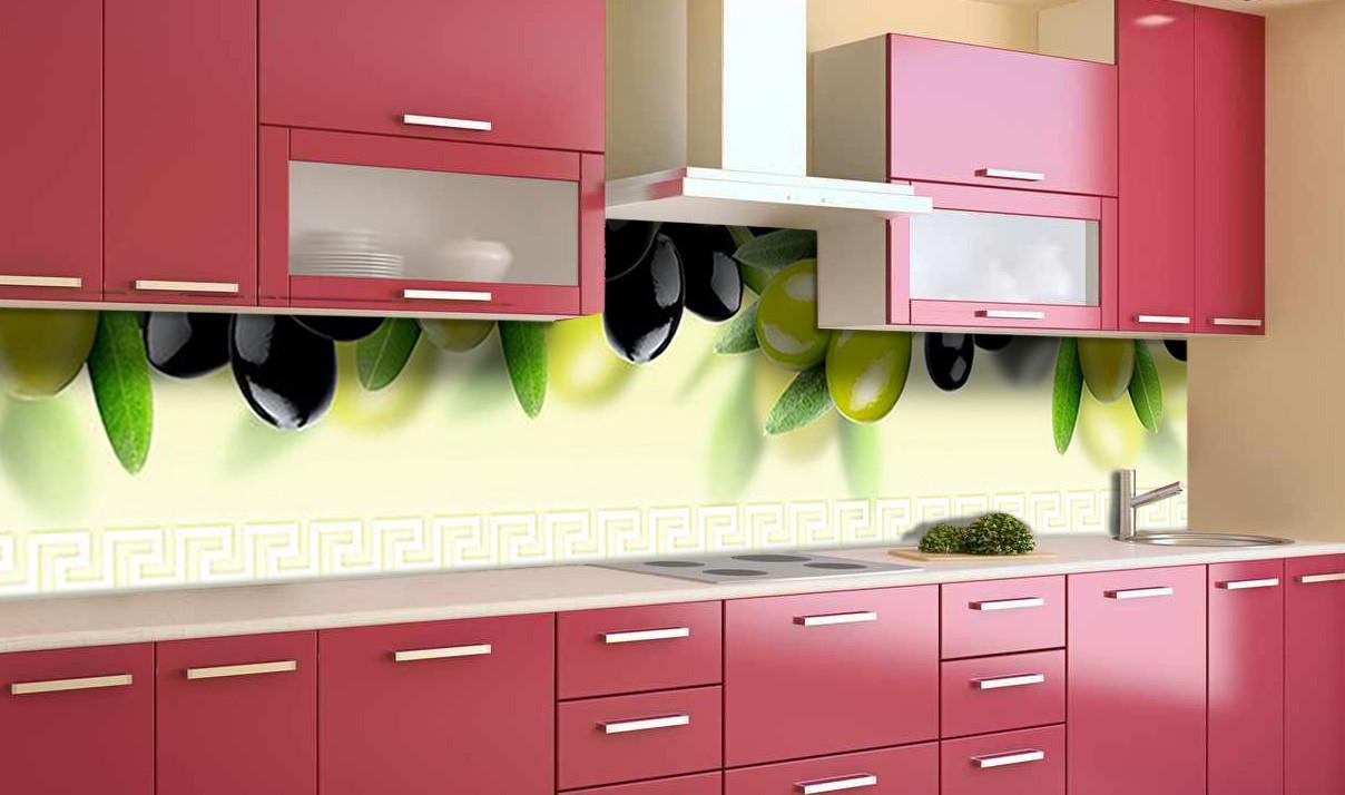 Виниловый кухонный фартук Маслины Оливки (самоклеющаяся пленка ПВХ скинали 3Д) ягоды Зеленый 600*2500 мм