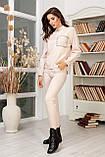 Женский вязанный спортивный костюм кофта гольф и штаны с высокой посадкой размер: 42-46, фото 2