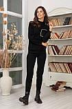 Женский вязанный спортивный костюм кофта гольф и штаны с высокой посадкой размер: 42-46, фото 3