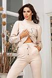 Женский вязанный спортивный костюм кофта гольф и штаны с высокой посадкой размер: 42-46, фото 8