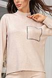 Женский вязанный спортивный костюм кофта гольф и штаны с высокой посадкой размер: 42-46, фото 9