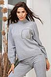 Женский вязанный спортивный костюм кофта гольф и штаны с высокой посадкой размер: 42-46, фото 10
