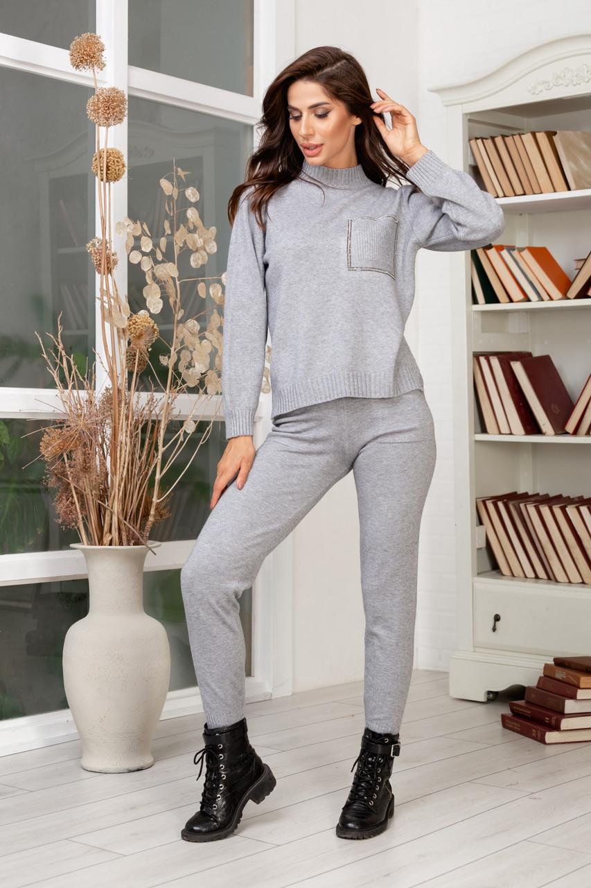 Женский вязанный спортивный костюм кофта гольф и штаны с высокой посадкой размер: 42-46