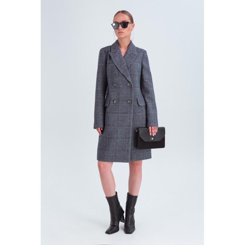 Жіноче демісезонне двобортне пальто в клітинку Vam 675 42