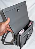 Женские молодежные клатчи, маленькие сумочки из искусственной кожи с клапаном 24*18 см (серый и синий), фото 4