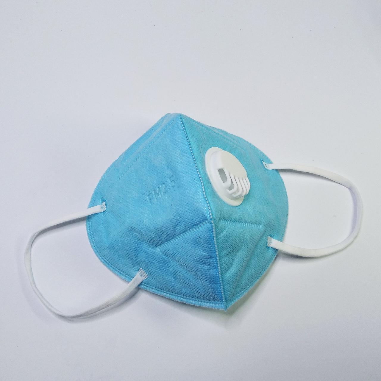Маска респиратор с фильтром , голубая (1 шт)