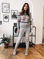 Женский вязаный брючный костюм с принтованным свитером размер универсальный 42-46 22mko1390, фото 1