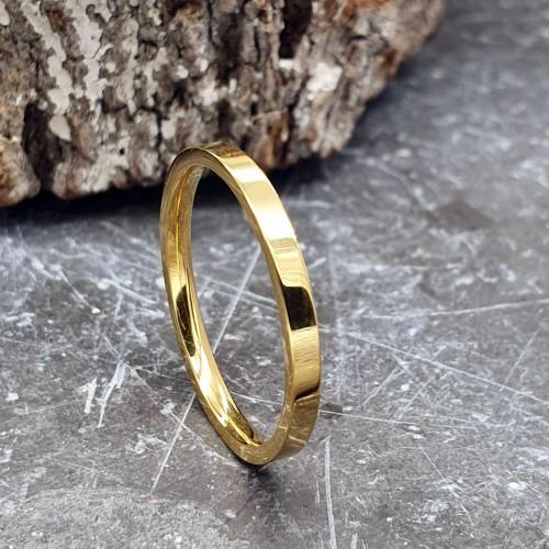 Парные кольца для двоих из медицинской стали американка 2 мм под золото
