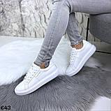 Жіночі кеди з натуральної шкіри Calvin Klein білі, фото 3