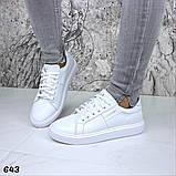Жіночі кеди з натуральної шкіри Calvin Klein білі, фото 5
