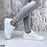 Жіночі кеди з натуральної шкіри Calvin Klein білі, фото 6