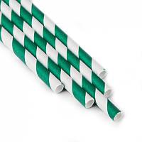 Трубочки для напитков картонные зелено-белая спираль (10шт/уп)