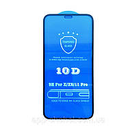 Защитное стекло 10D для Apple iPhone 11 Pro черное, на весь экран (захисне скло 10д на айфон 11 Про чорне)