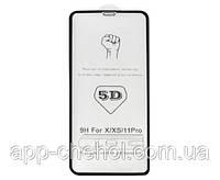 Захисне скло 5D для Apple iPhone 11 Pro чорне, на весь екран (захисне скло 5д на айфон 11 Про чорне)