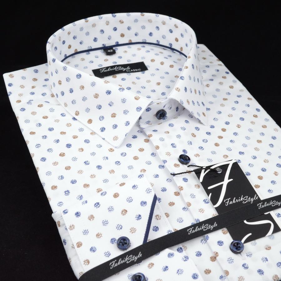 Сорочка чоловіча, прямого крою з довгим рукавом Fabrik Style T2496V4 100% бавовна 43(Р)