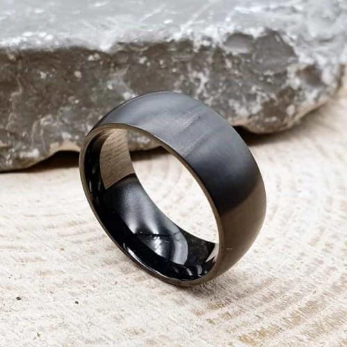 Стальное кольцо унисекс черное матовое 8 мм под гравировку 176309