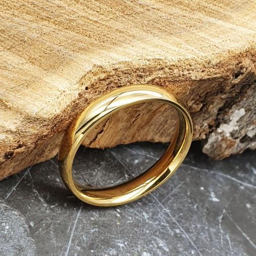 Стальное обручальное кольцо 4 мм под золото для гравировки 176310