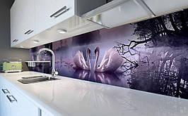 Виниловый кухонный фартук Лебеди на озере самоклеющаяся пленка ПВХ скинали 3Д Птицы Фиолетовый 600*2500 мм