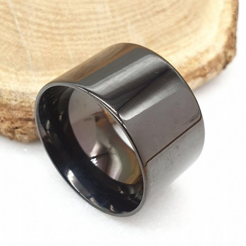 Черное кольцо для мужчин и женщин 14 мм под гравировку 176313